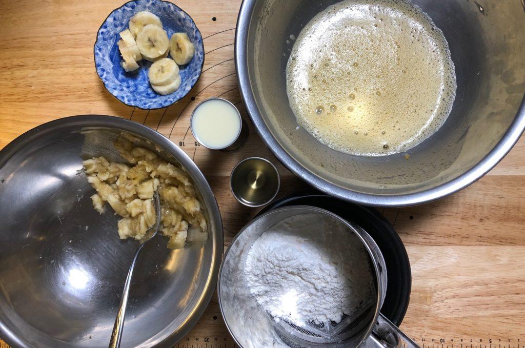 パウンド型バナナケーキの材料