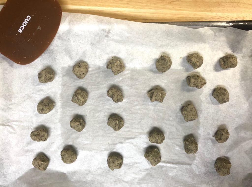 ほうじ茶のホロホロクッキー焼成前
