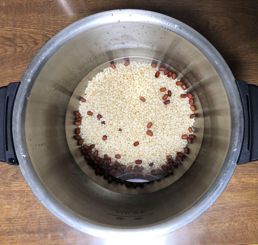 小豆玄米ご飯を炊飯する前
